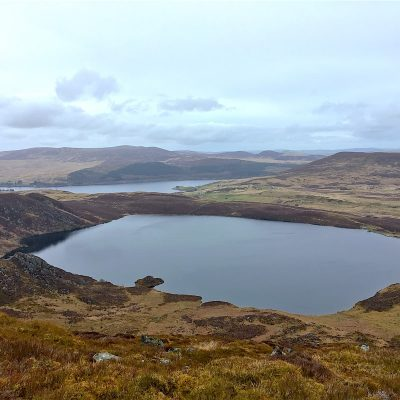 Llyn Arenig from above in Autumn