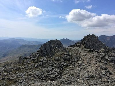 Top of the Glyderau with Snowdon in the distance