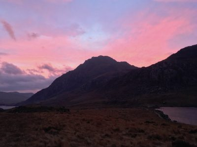 Pink sunrise over Tryfan