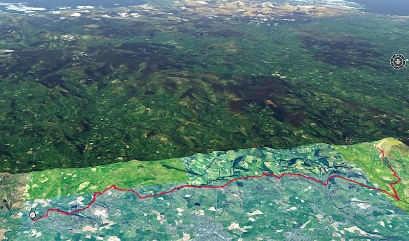 Offa's Dyke Llangollen to Llanymynech 3D Map