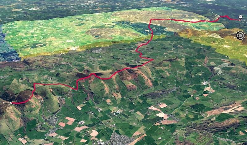 Offas Dyke Moel Famau to Llangollen 3D Map