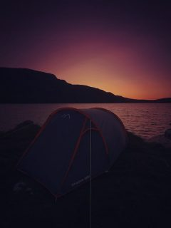 Post sunset camping at Llyn Arenig
