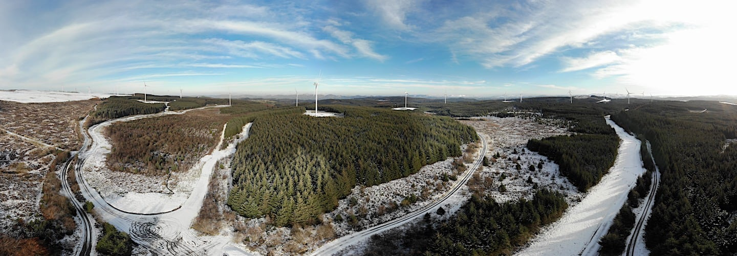 Clocaenog Forest from above with Windfarms | The Frozen Divide