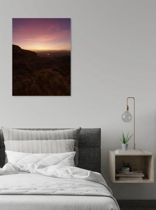 Pink Sunset Canvas Print Interior Setting