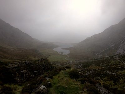 Llyn Idwal in heavy rain