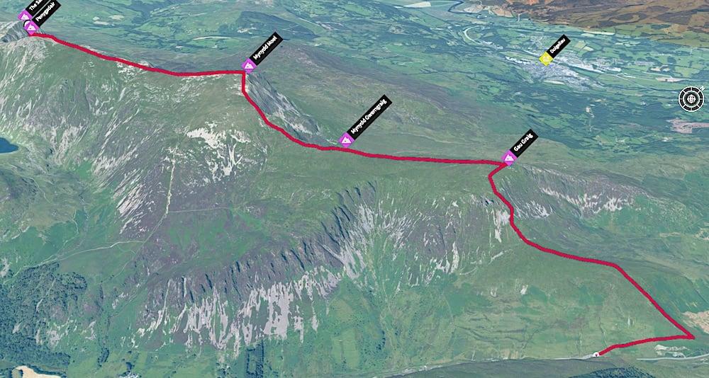 Mynydd Moel & Cadair Idris 3D Map Trail Route