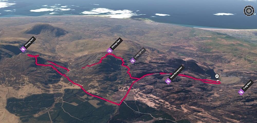 Rhinog Fawr & Fach Trail Route 3D Map