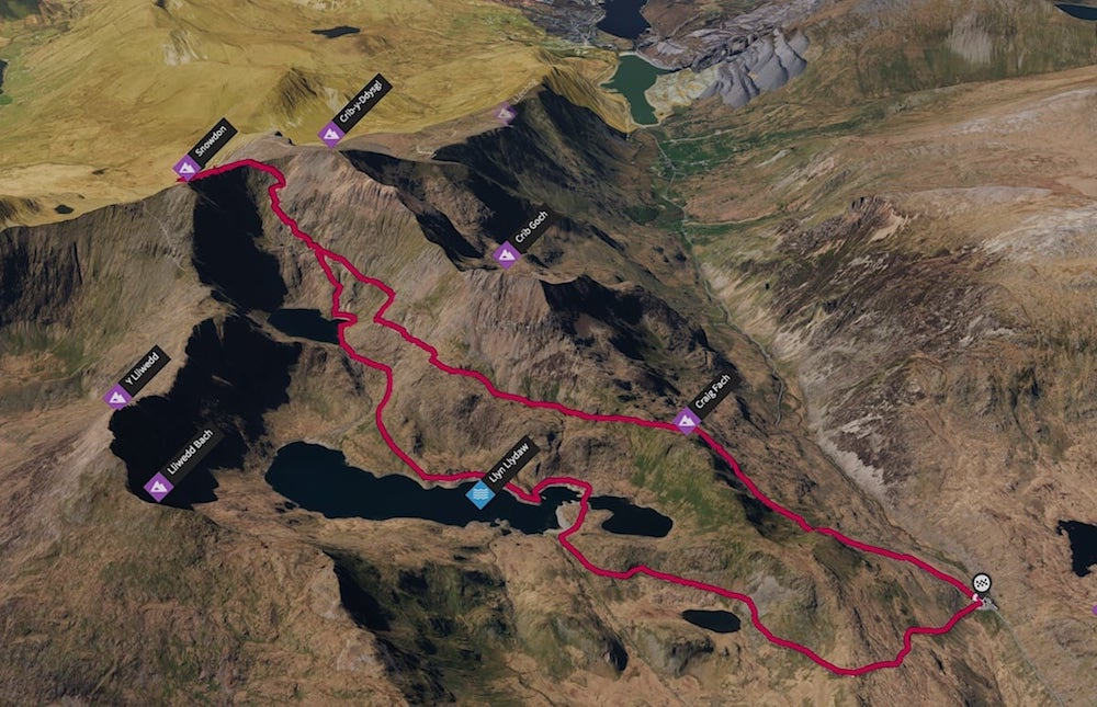 Snowdon via Pyg Track & Miners Path 3D Map