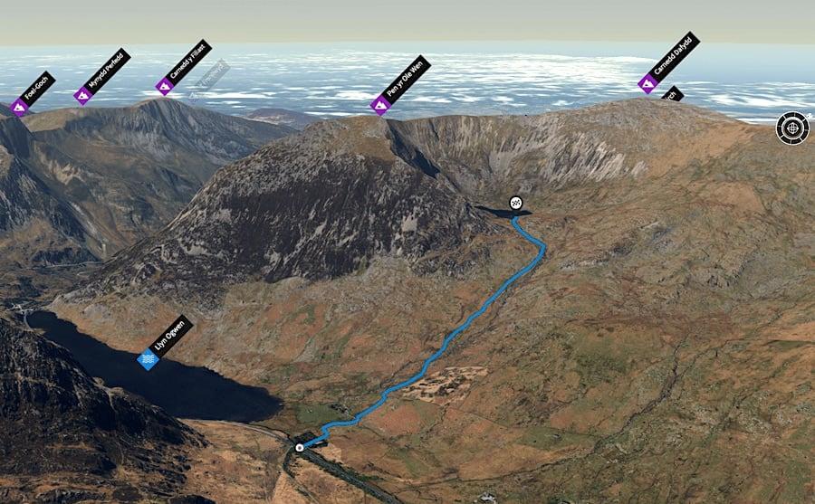 Cwm Lloer Easy Trail Route 3D Map