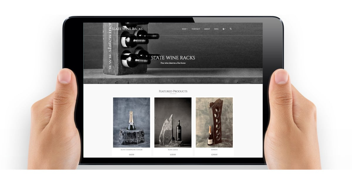 Slate Wine Racks Website Design by The Frozen Divide Ltd