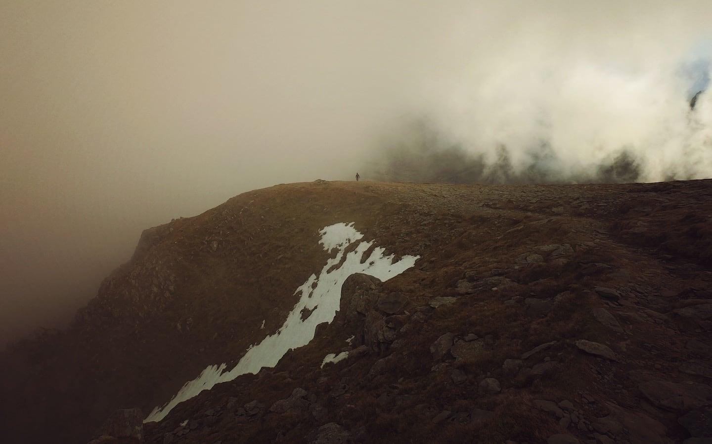 Solo Hiker on Pen Yr Ole Wen summit | The Frozen Divide